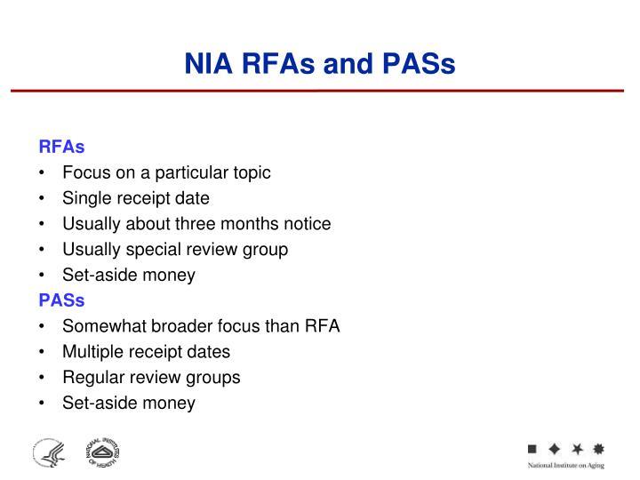 NIA RFAs and PASs