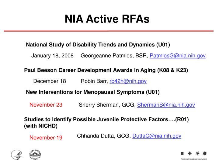 NIA Active RFAs