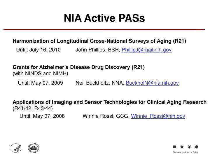 NIA Active PASs