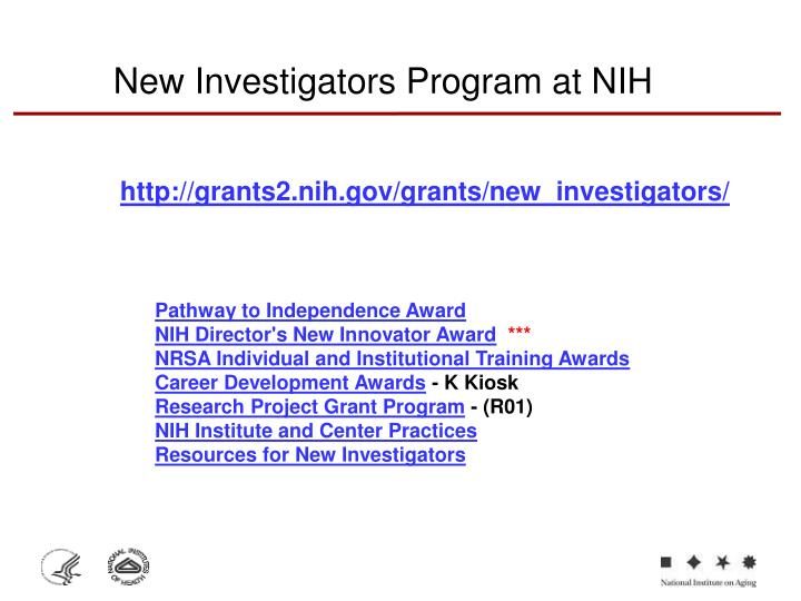 New Investigators Program at NIH