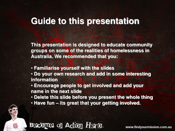 Guide to this presentation