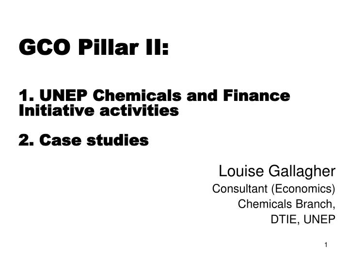 Gco pillar ii 1 unep chemicals and finance initiative activities 2 case studies