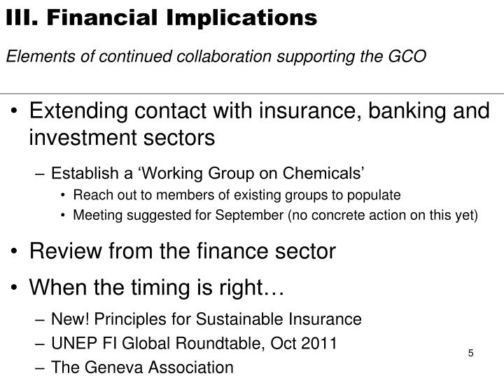 III. Financial Implications