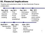 iii financial implications timeline and outcomes to date for the chemicals finance collaboration