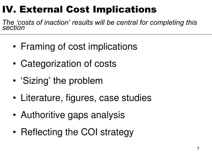IV. External Cost Implications