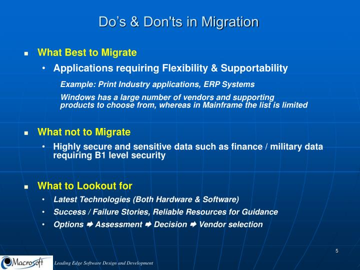 Do's & Don'ts in Migration