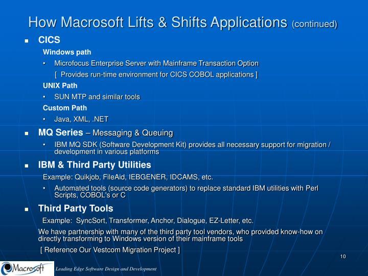How Macrosoft Lifts & Shifts Applications