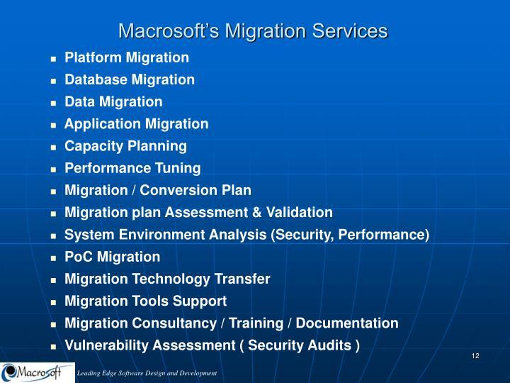 Macrosoft's Migration Services