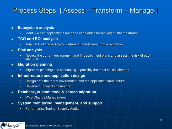 Process Steps  [ Assess – Transform – Manage ]