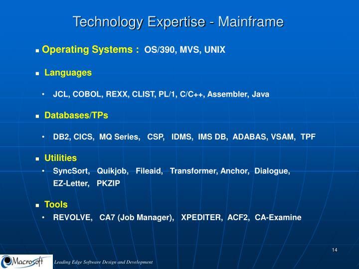 Technology Expertise - Mainframe