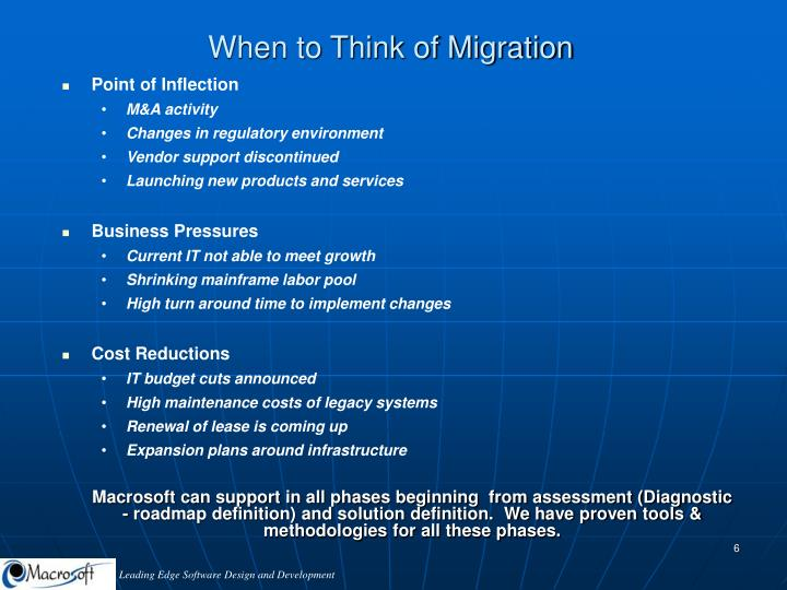 When to Think of Migration