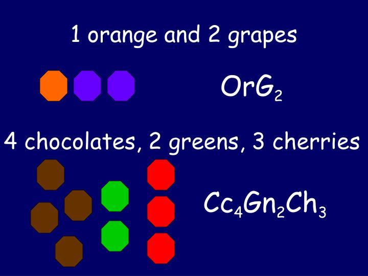 1 orange and 2 grapes