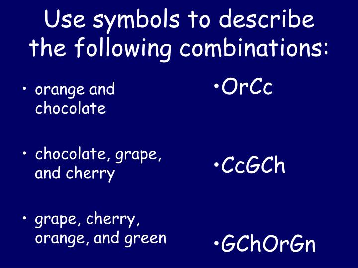 Use symbols to describe the following combinations: