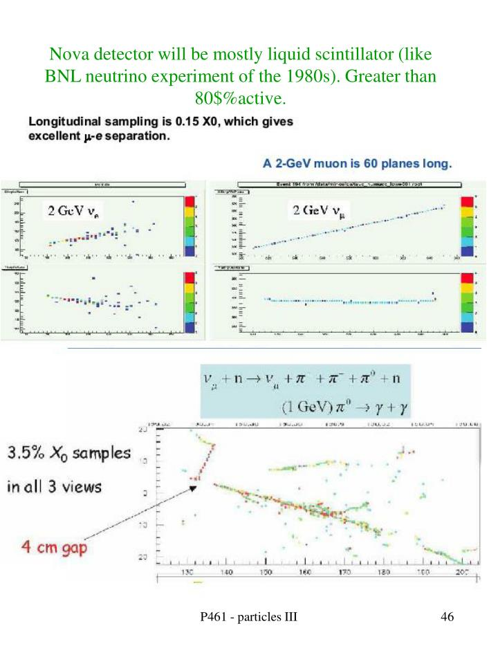 Nova detector will be mostly liquid scintillator (like BNL neutrino experiment of the 1980s). Greater than 80$%active.
