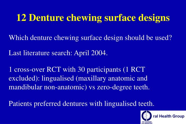 12 Denture chewing surface designs