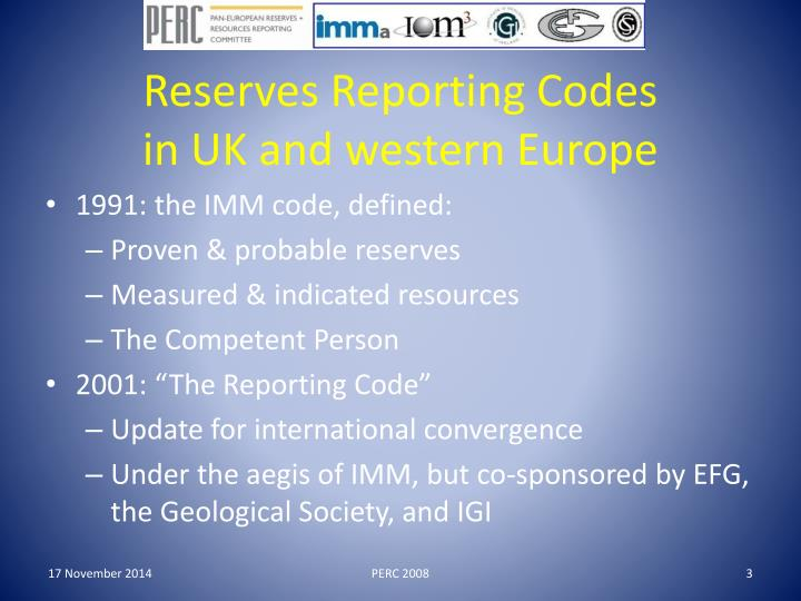 Reserves reporting codes in uk and western europe