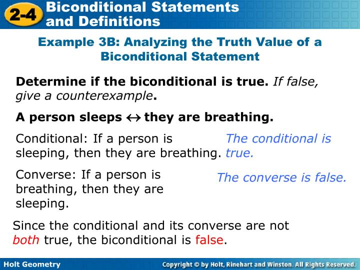 Example 3B: Analyzing the Truth Value of a Biconditional Statement