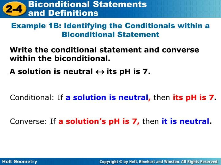 Example 1B: Identifying the Conditionals within a Biconditional Statement
