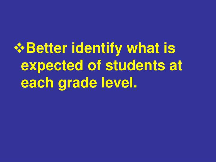 Better identify what is expected of students at each grade level.