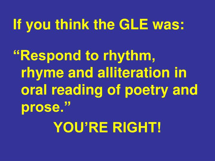If you think the GLE was: