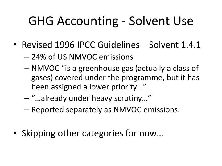 GHG Accounting - Solvent Use