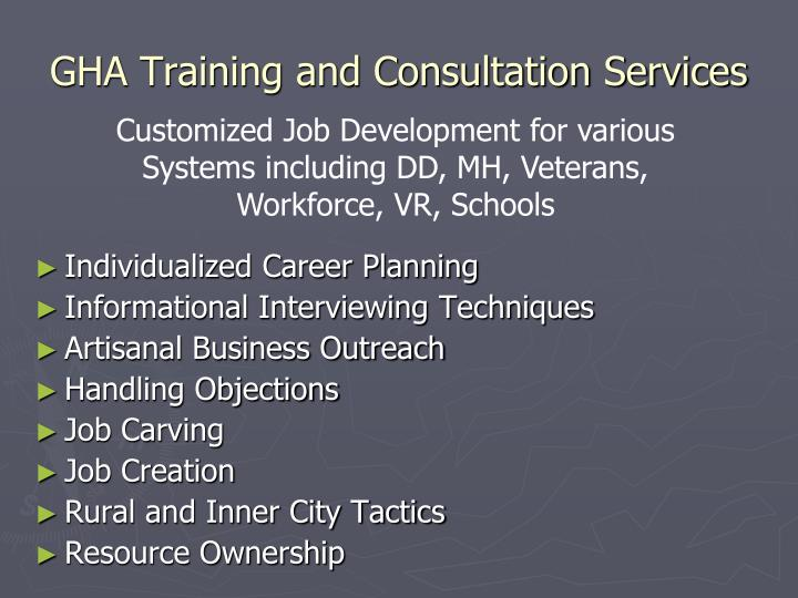 GHA Training and Consultation Services