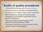 audits of quality procedures