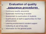 evaluation of quality assurance procedures