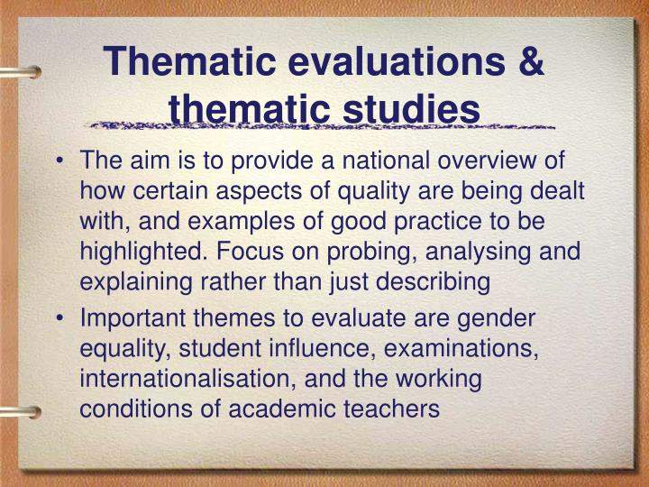 Thematic evaluations & thematic studies