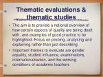 thematic evaluations thematic studies
