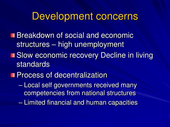 Development concerns