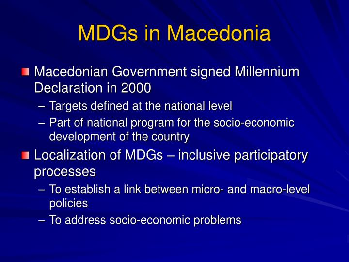 MDGs in Macedonia