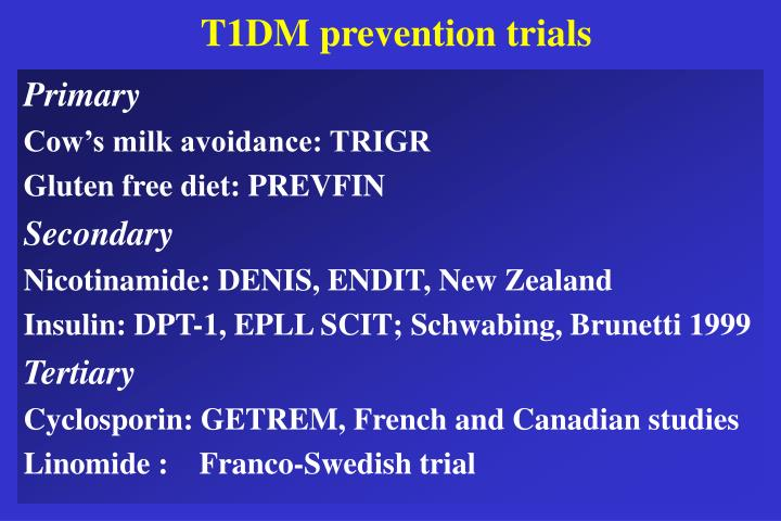 T1DM prevention trials