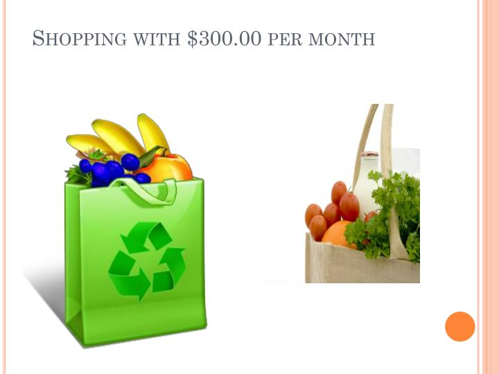 Shopping with $300.00 per month