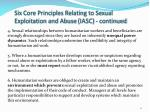 six core principles relating to sexual exploitation and abuse iasc continued
