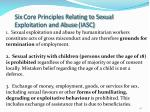 six core principles relating to sexual exploitation and abuse iasc