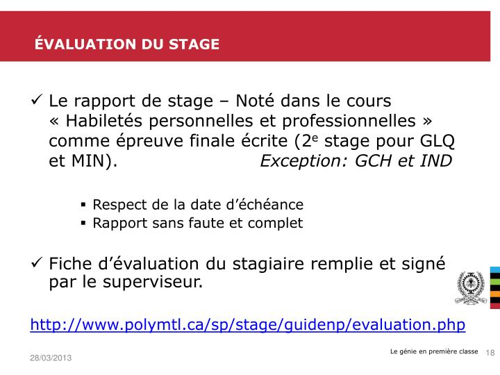 Évaluation du stage