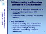 ghg accounting and reporting verification of ghg emissions
