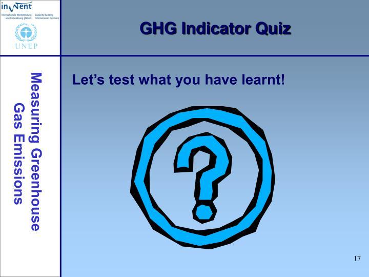 GHG Indicator Quiz