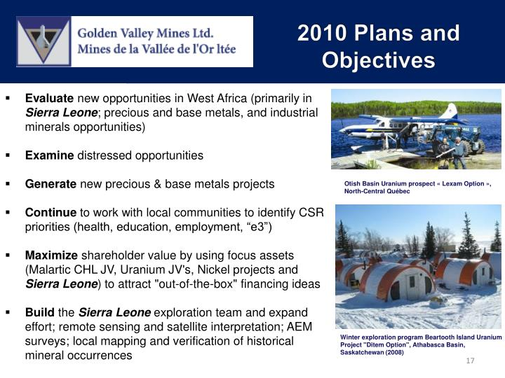 2010 Plans and Objectives
