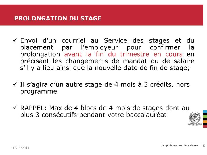 Prolongation du stage