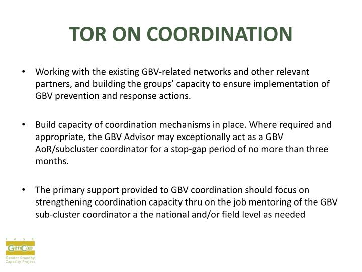 TOR ON COORDINATION