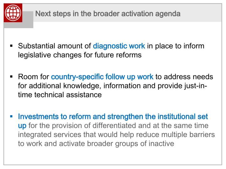 Next steps in the broader activation agenda