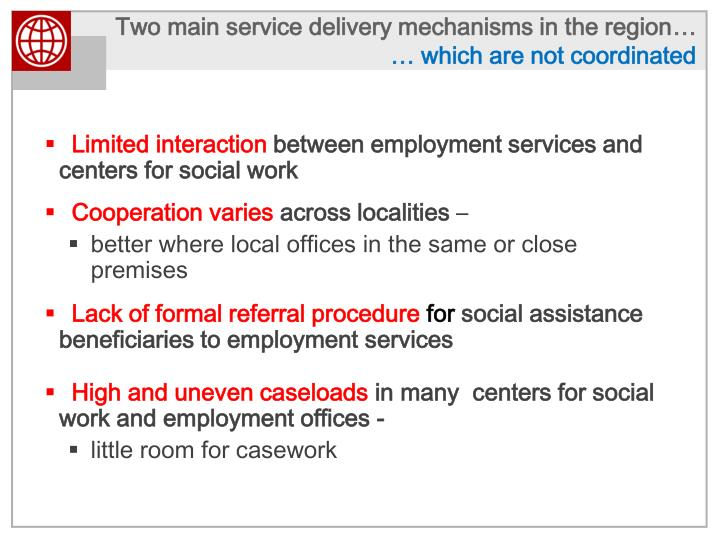 Two main service delivery mechanisms in the region