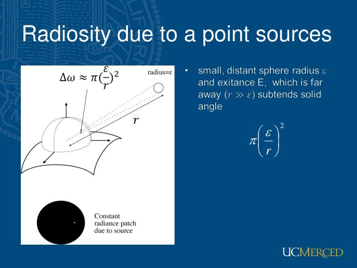 Radiosity due to a point sources
