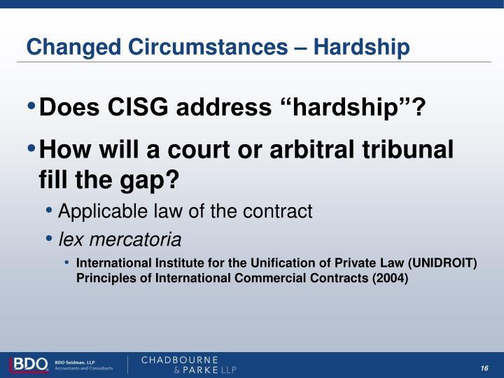 Changed Circumstances – Hardship
