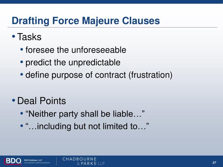 Drafting Force Majeure Clauses