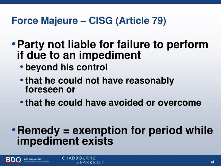 Force Majeure – CISG (Article 79)