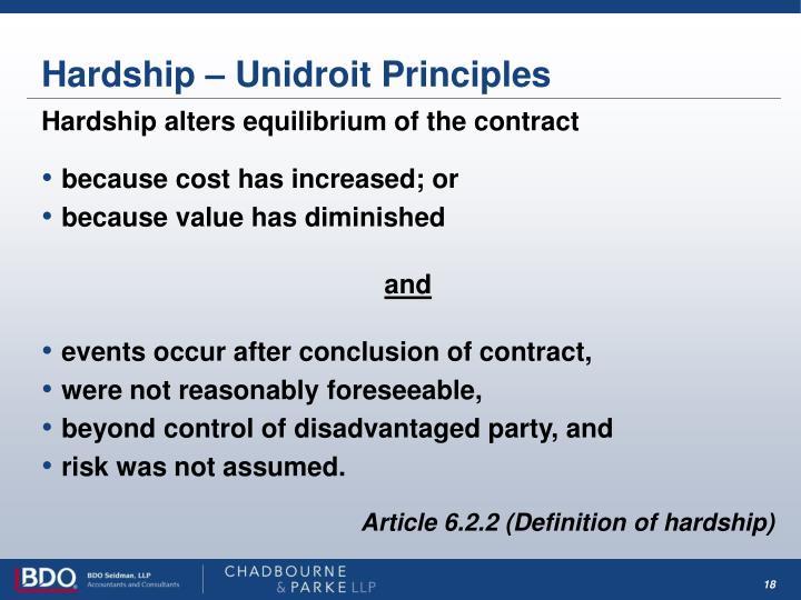 Hardship – Unidroit Principles