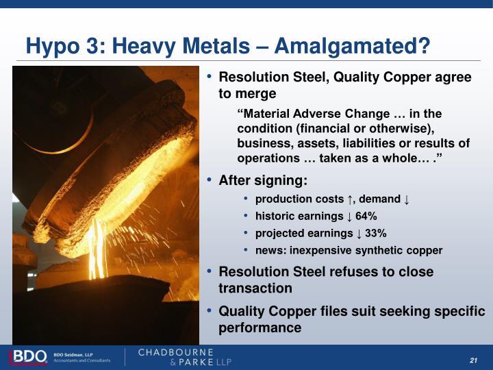 Hypo 3: Heavy Metals – Amalgamated?